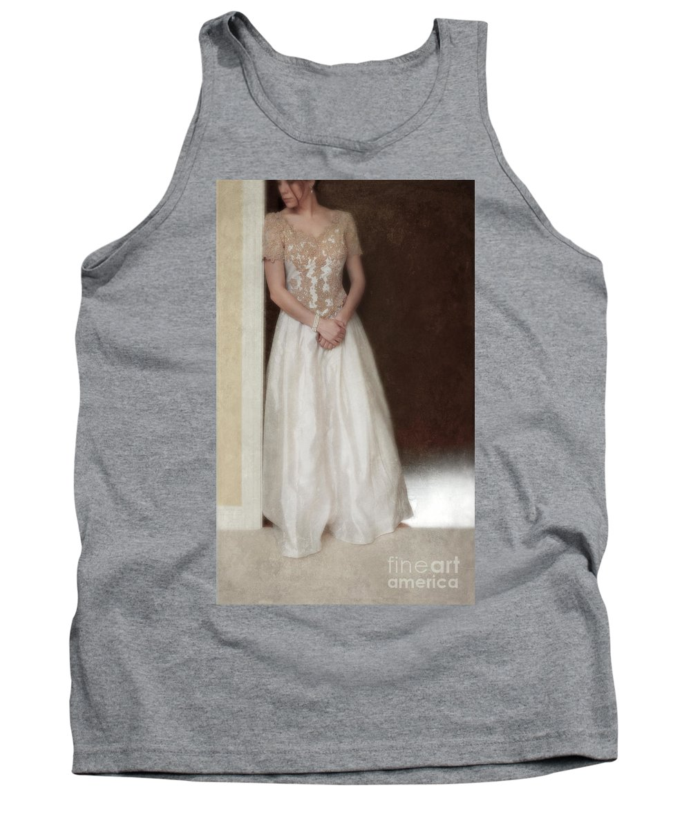 Beautiful Tank Top featuring the photograph Lacy In Ecru Lace Gown by Jill Battaglia