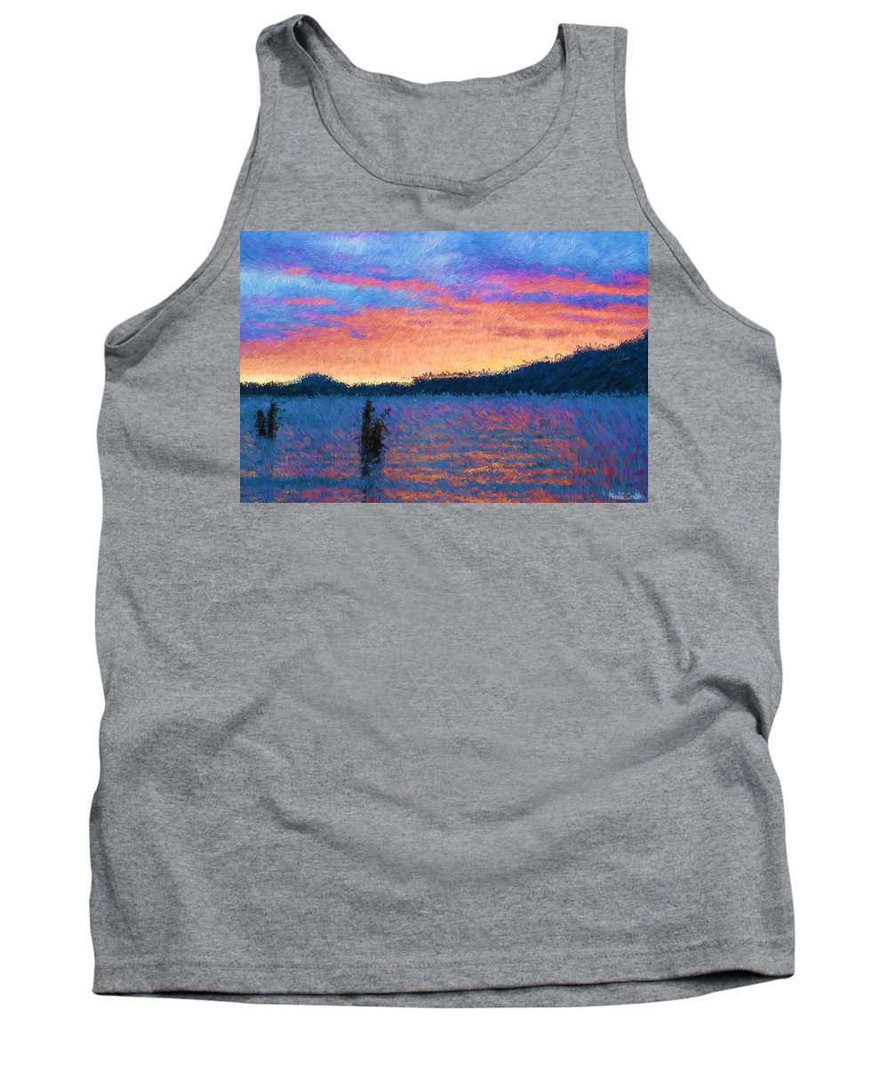 Lake Tank Top featuring the photograph Lake Quinault Sunset - Impressionism by Heidi Smith