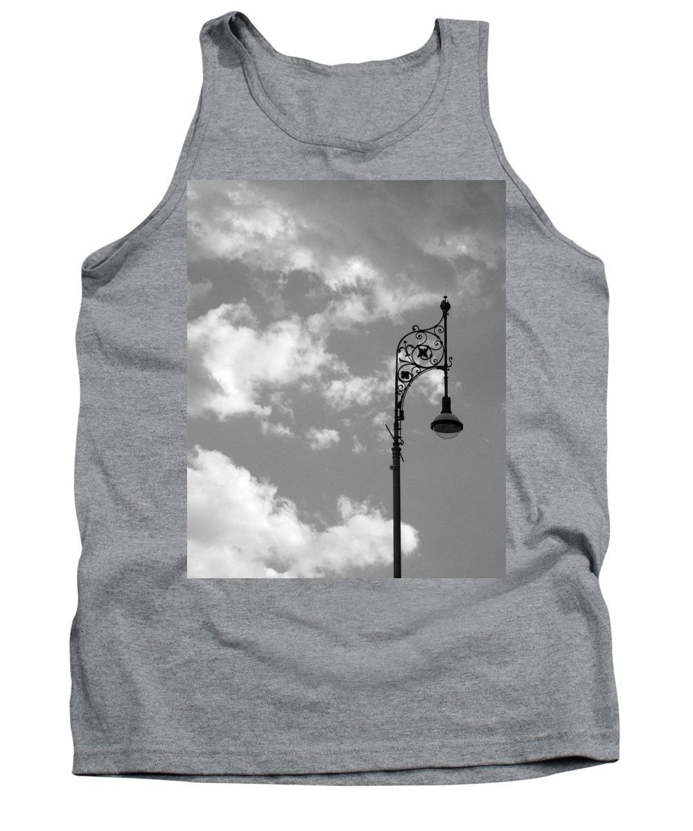 Lamp Post Tank Top featuring the photograph Lampost And Clouds In Wroclaw Poland by Greg Matchick