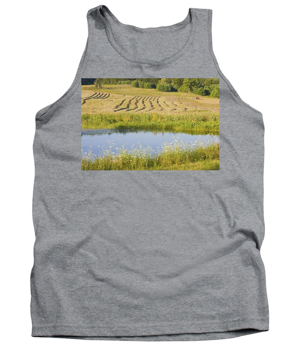 Maine Farming Tank Top featuring the photograph Late Summer Hay Being Harvested In Maine Canvas Poster Print by Keith Webber Jr