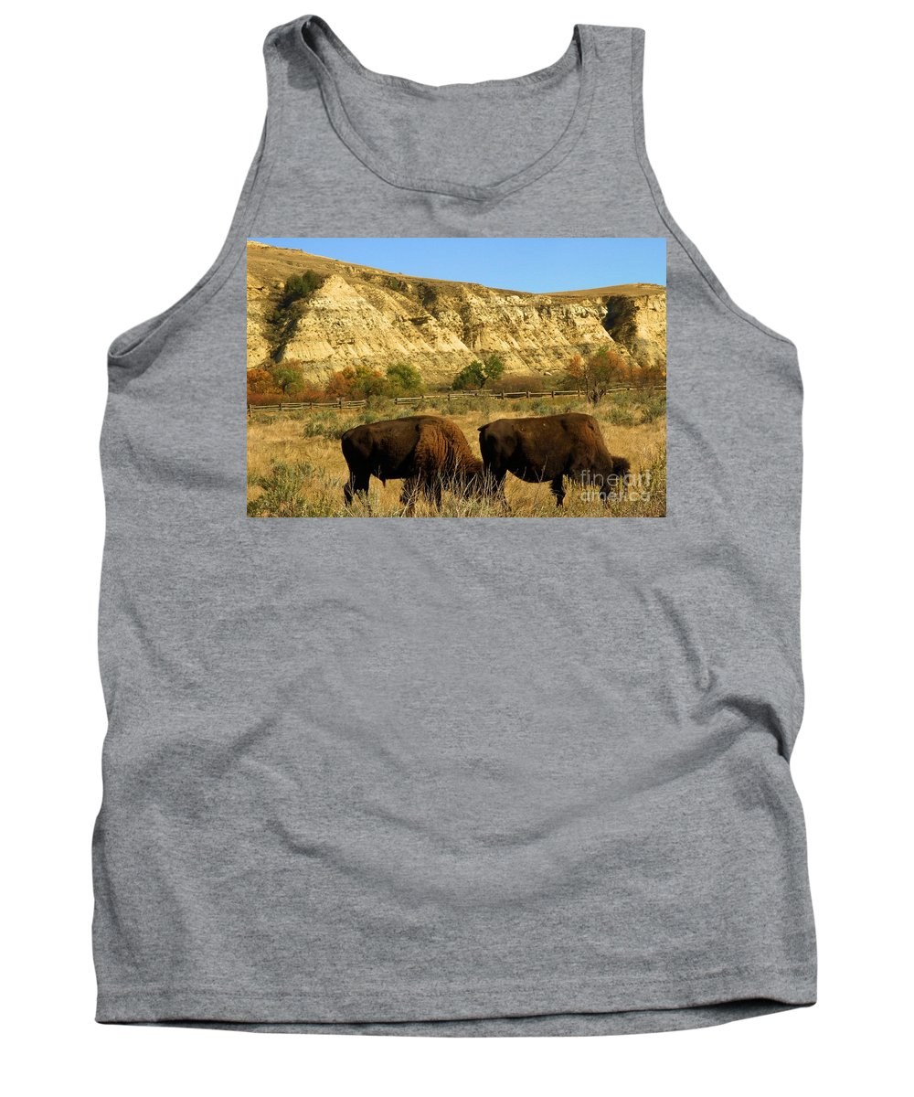 Bison Tank Top featuring the photograph Lawnmowers by Adam Jewell