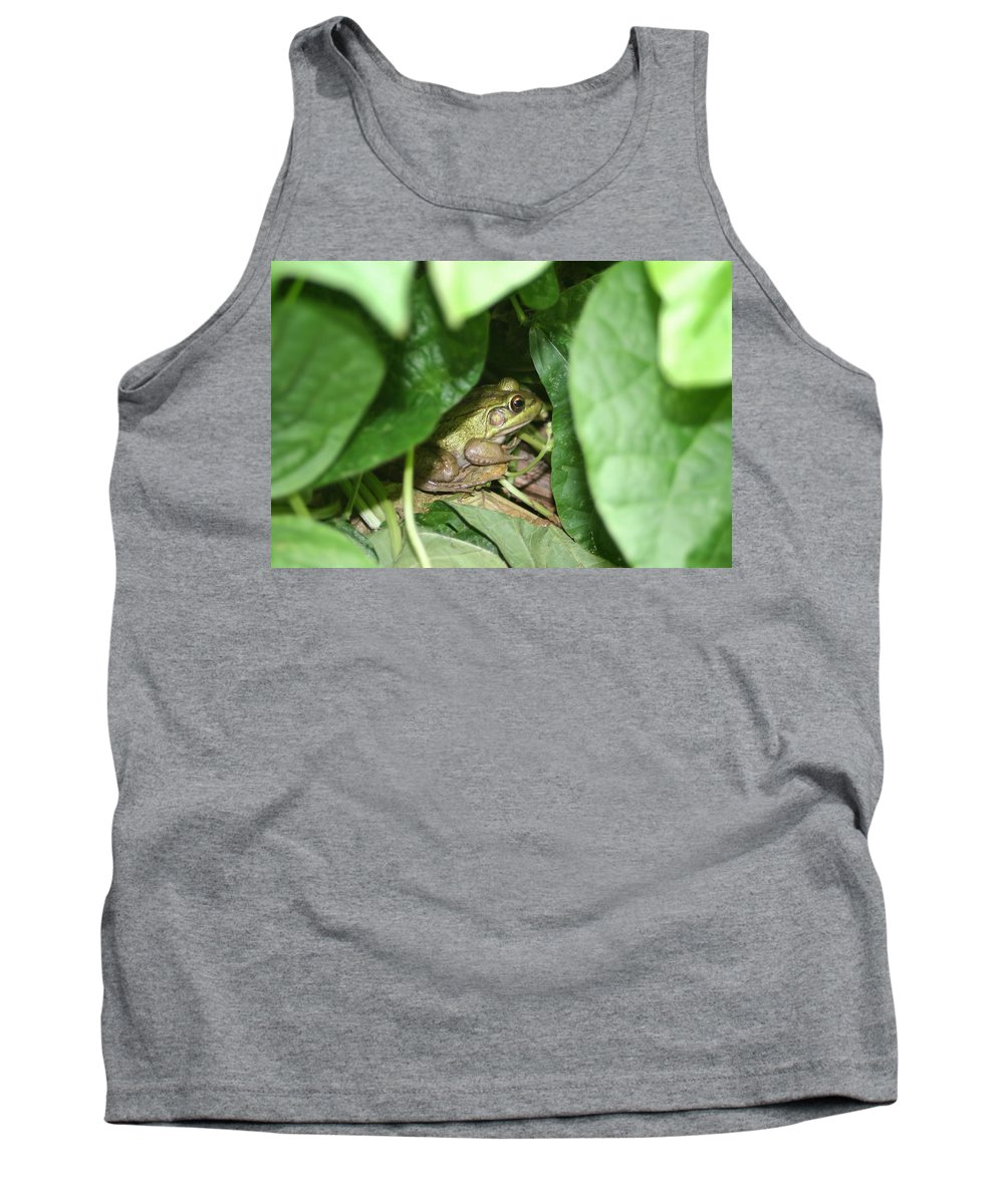 Frog Tank Top featuring the photograph Lives With The Green Beans by Barbara S Nickerson