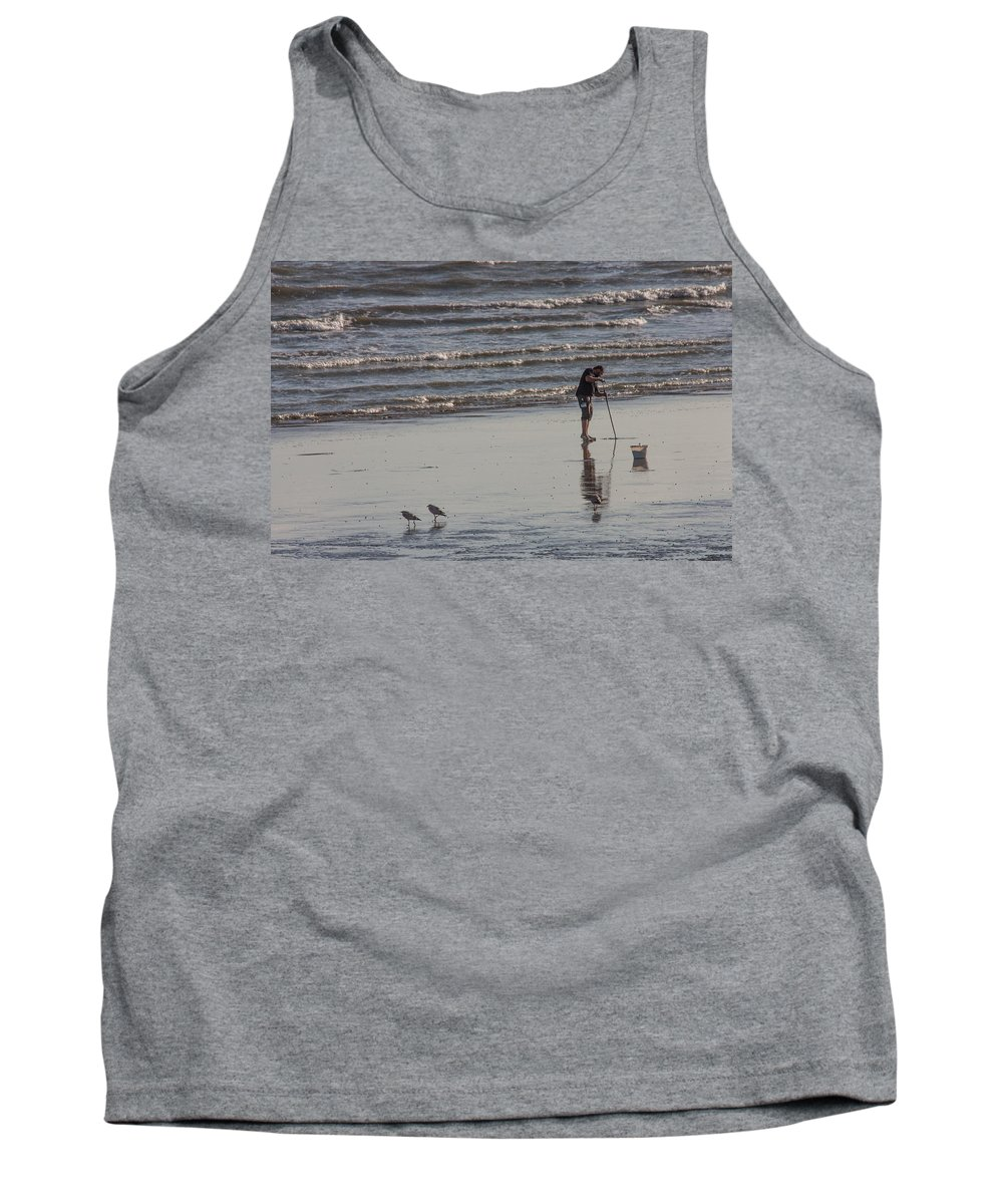 Beach Tank Top featuring the photograph Looking For Lugworm by Dawn OConnor