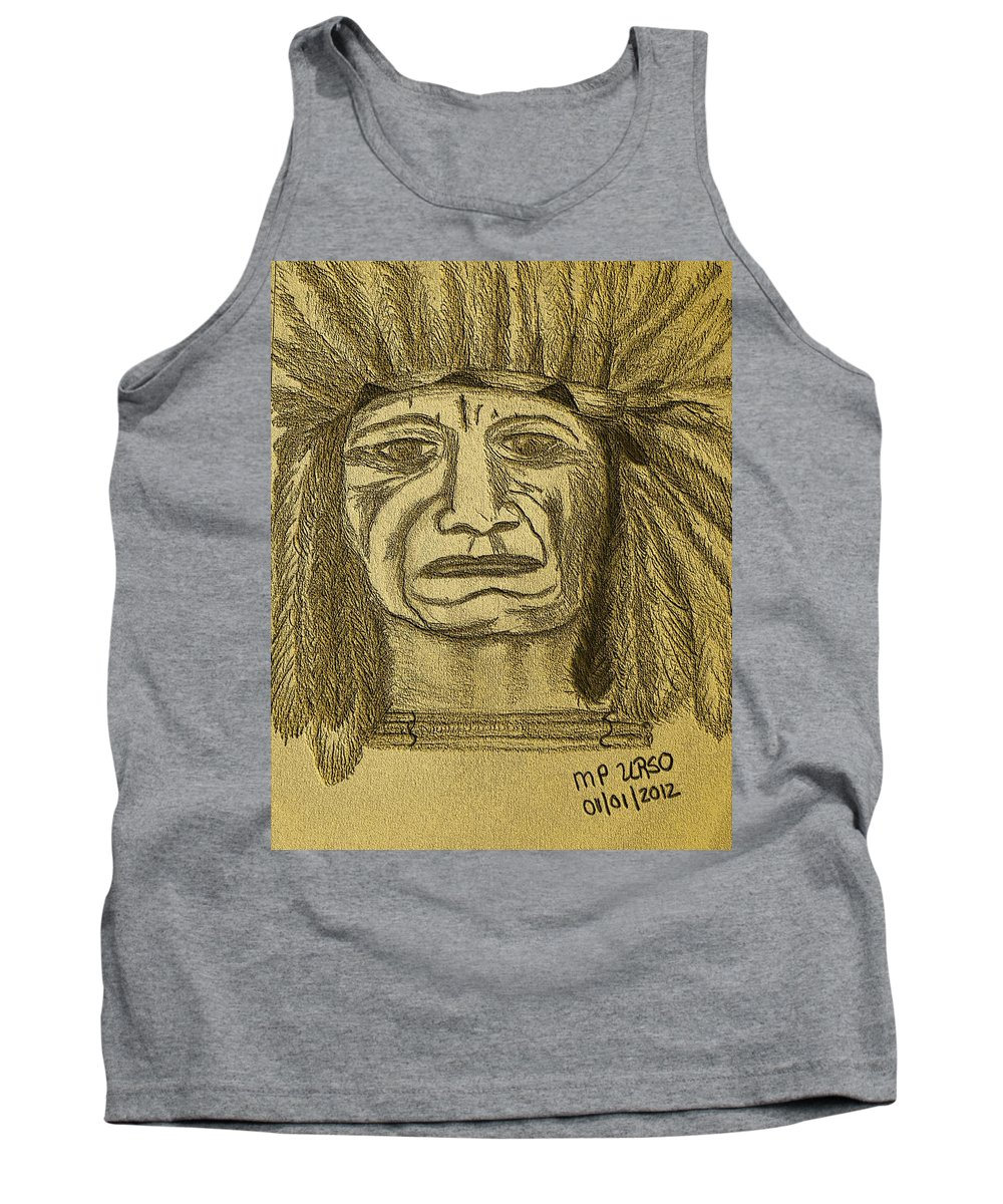 Man Tank Top featuring the drawing Man Of Wisdom - D by Maria Urso
