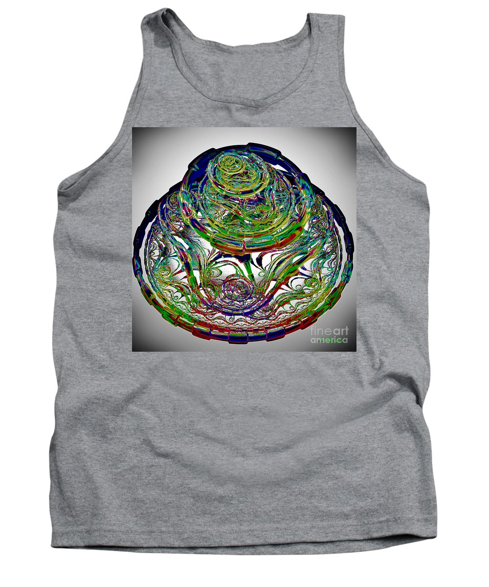 Abstract Tank Top featuring the digital art Manic Maze by Leslie Revels