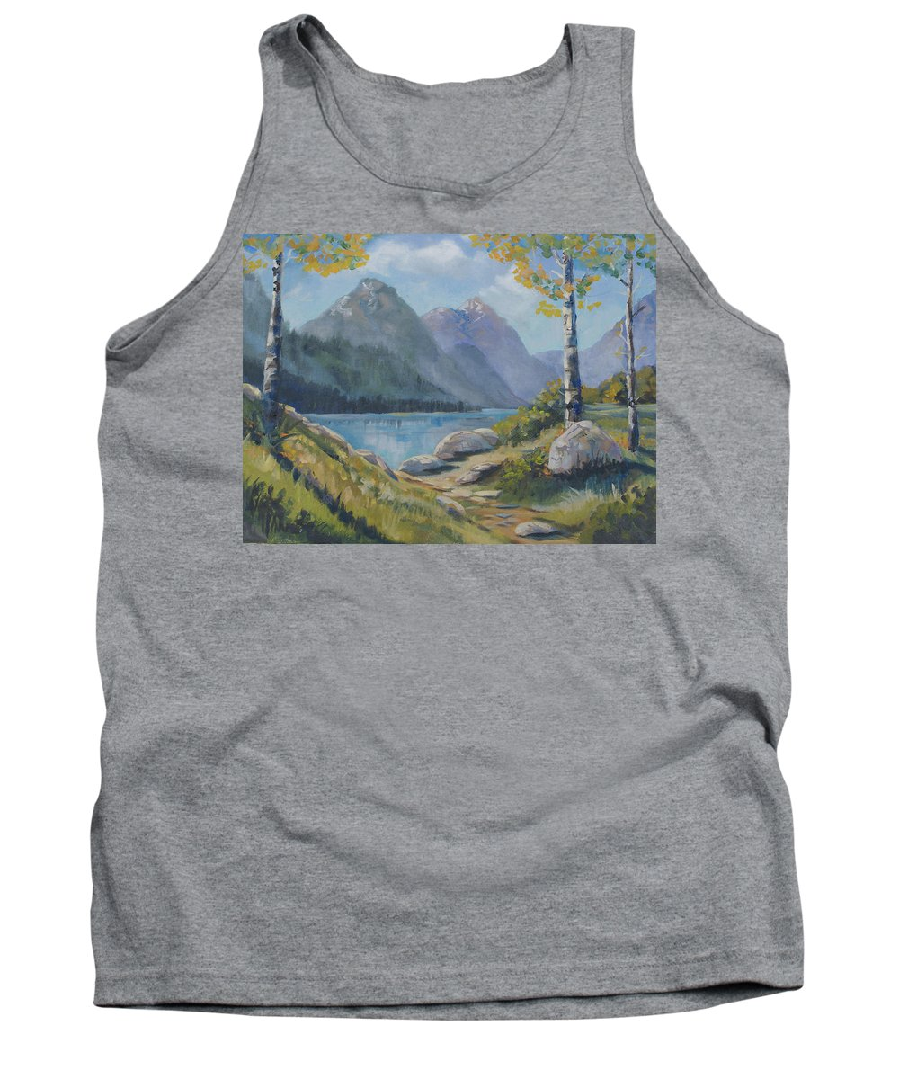 Mills Lake Tank Top featuring the painting Mills Lake by Heather Coen