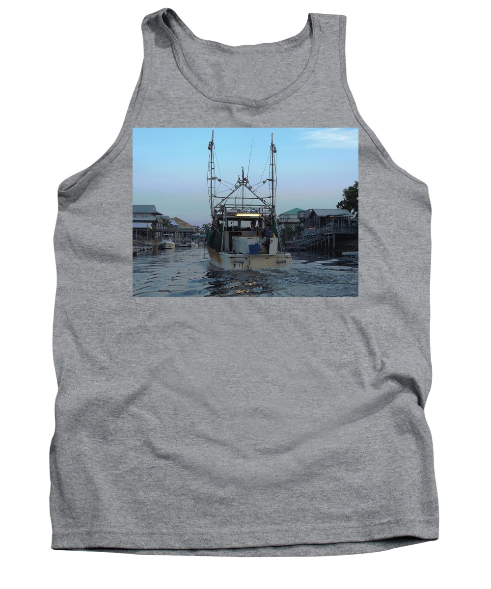 Shrimping Tank Top featuring the photograph Miss Jerry's by Marilyn Holkham