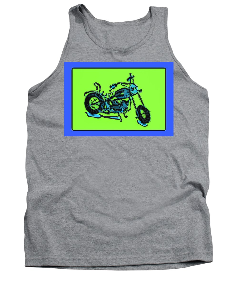 Art Tank Top featuring the pyrography Motorbike 1c by Mauro Celotti