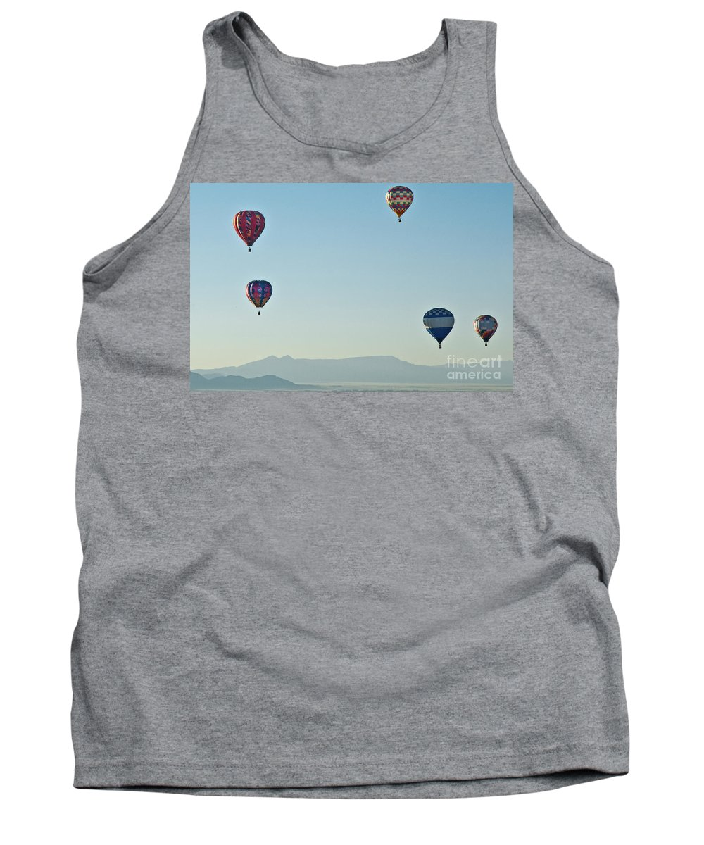 Fiesta Floating Flying Exciting Sky Balloon Dazzling Colorful Entertainment Exhilarating Beautiful Ballooning Albuquerque Victorian Amazing Amusement Appealing Fun Gay Spectacular Smile Sport Stunning Vivid Recreation Pretty Tradition Happy Joy Lovely Gaiety Suspension England Construction Event Famous Festival Cloudy Clifton Bridge Bristol Bristol International Balloon Festival British Aviation Flight Sightseeing Landmark Adrenalin Soaring Beauty Hot Air Balloon High Annual Adventure Georgian Gorge Tourism Tank Top featuring the photograph Mountain View by Jim Chamberlain