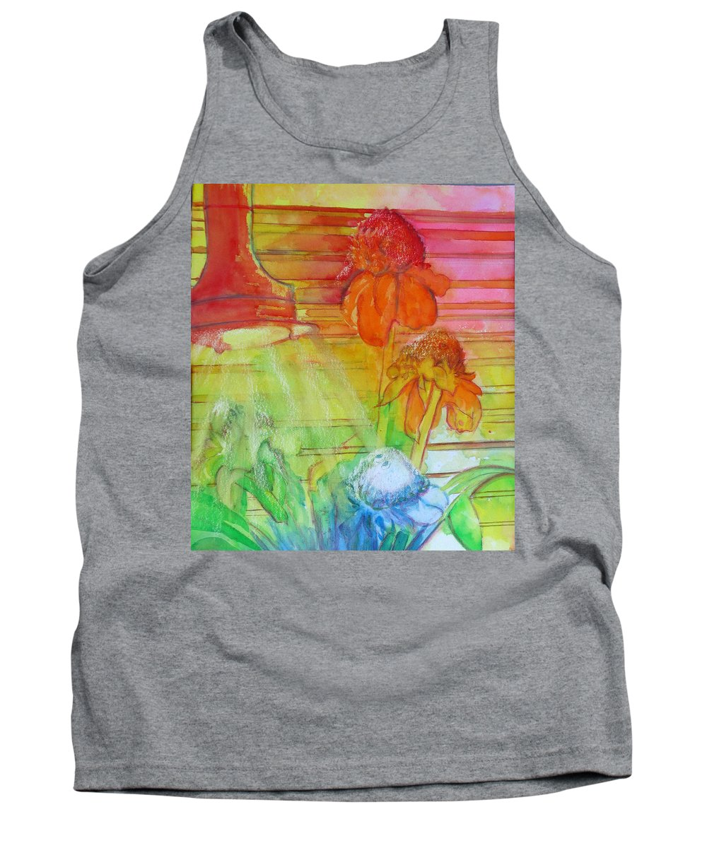 Watercolor Tank Top featuring the painting Multicolor Gingers by Estela Robles