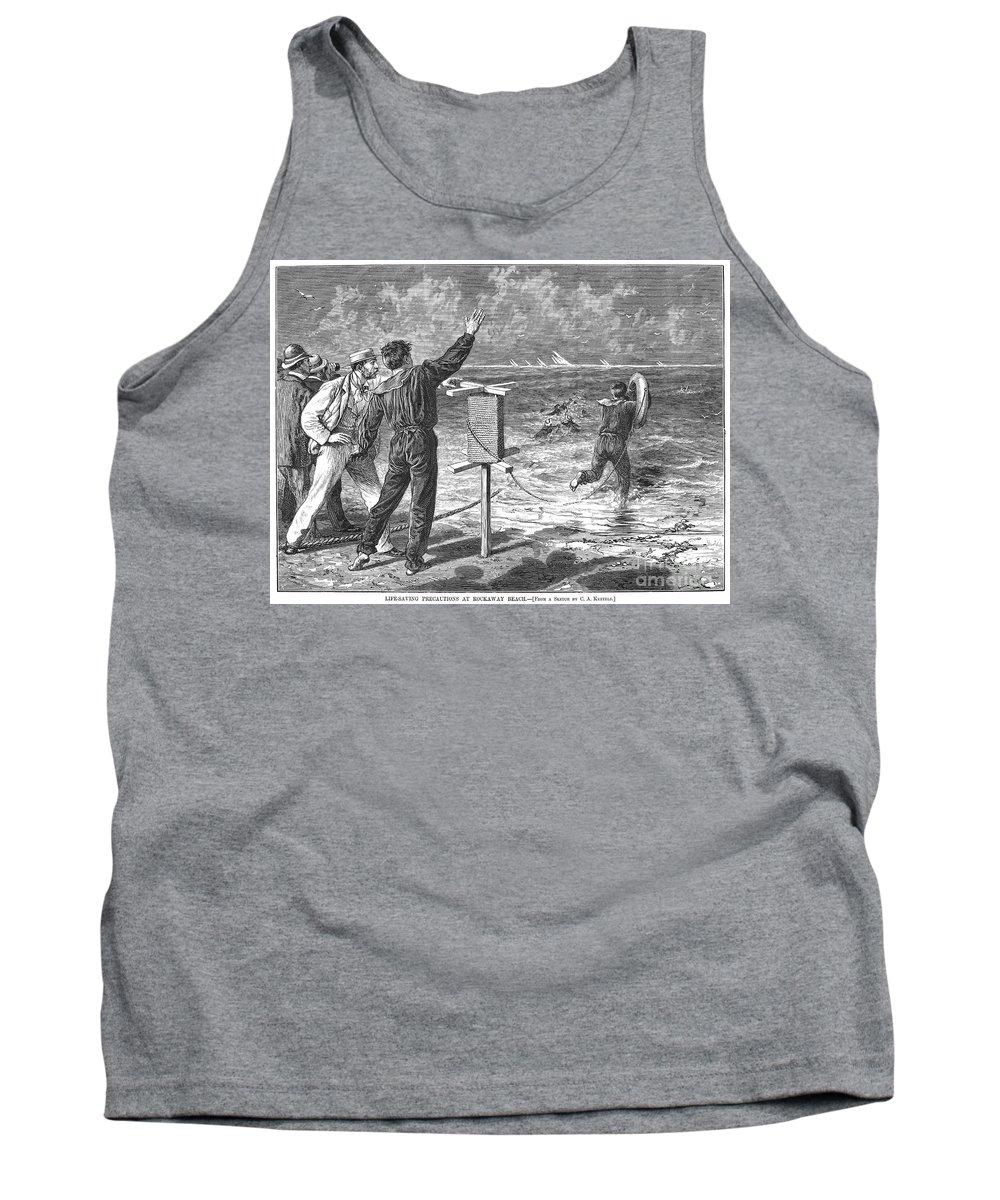 1877 Tank Top featuring the photograph New York: Rockaway Beach by Granger