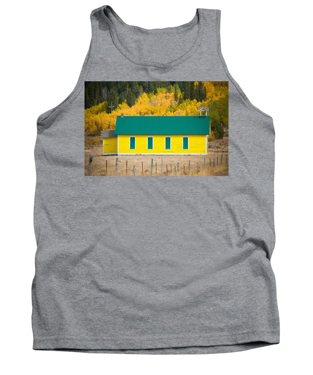Autumn Tank Top featuring the photograph Old Yellow School House With Autumn Colors by James BO Insogna