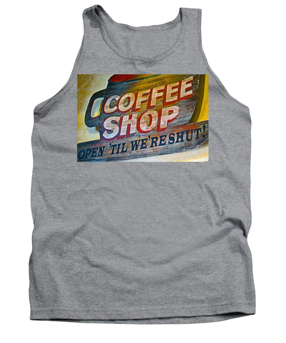 Coffeeshop Tank Top featuring the photograph Open 'til We're Shut by Bill Owen