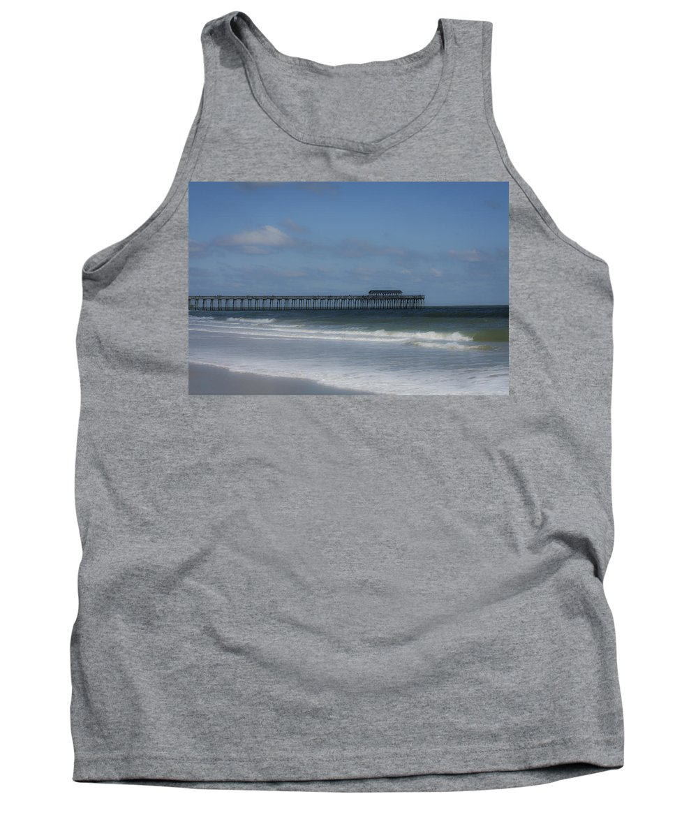 Sunlight Tank Top featuring the photograph Pier At Myrtle Beach State Park by Teresa Mucha