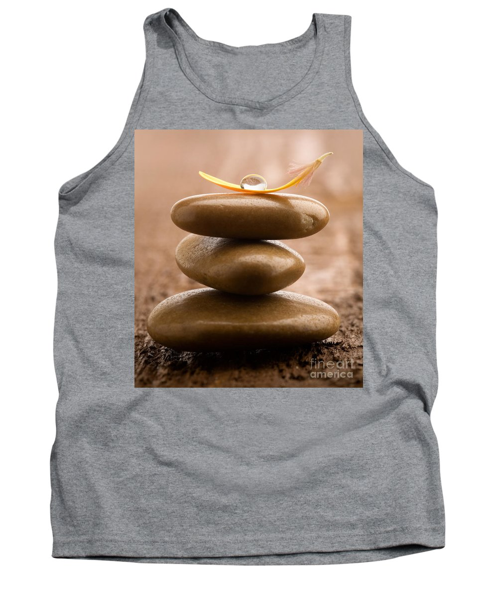 Flower Tank Top featuring the photograph Pile Of Massage Stones by Kati Finell