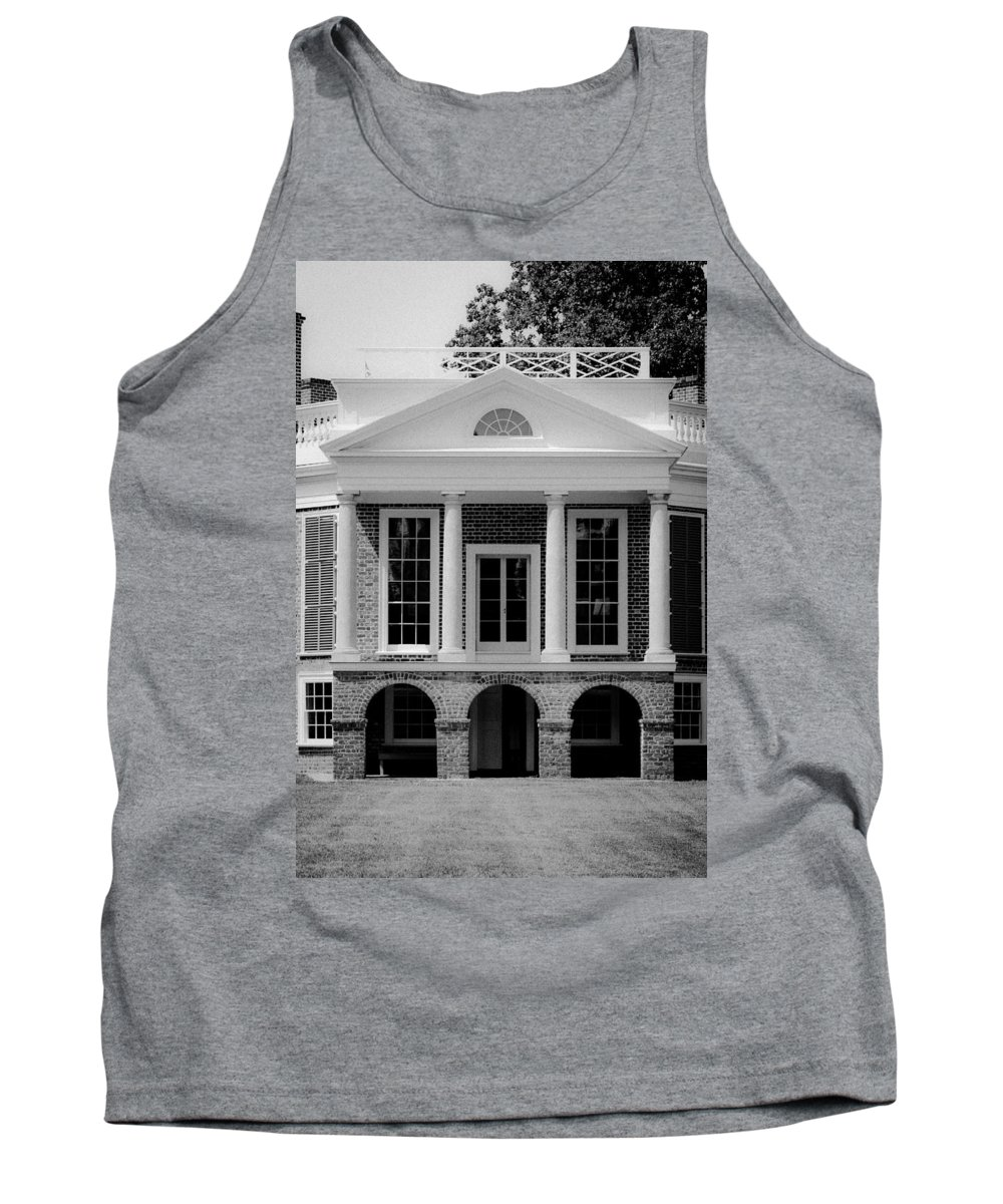 Poplar Forest Tank Top featuring the photograph Poplar Forest South Portico Bw by Teresa Mucha