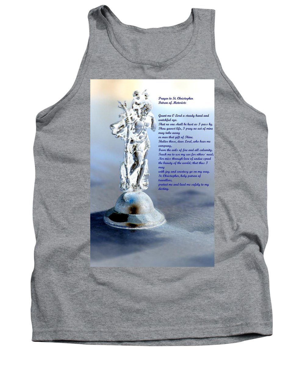 Prayer Tank Top featuring the mixed media Prayer To St Christopher by Maria Urso