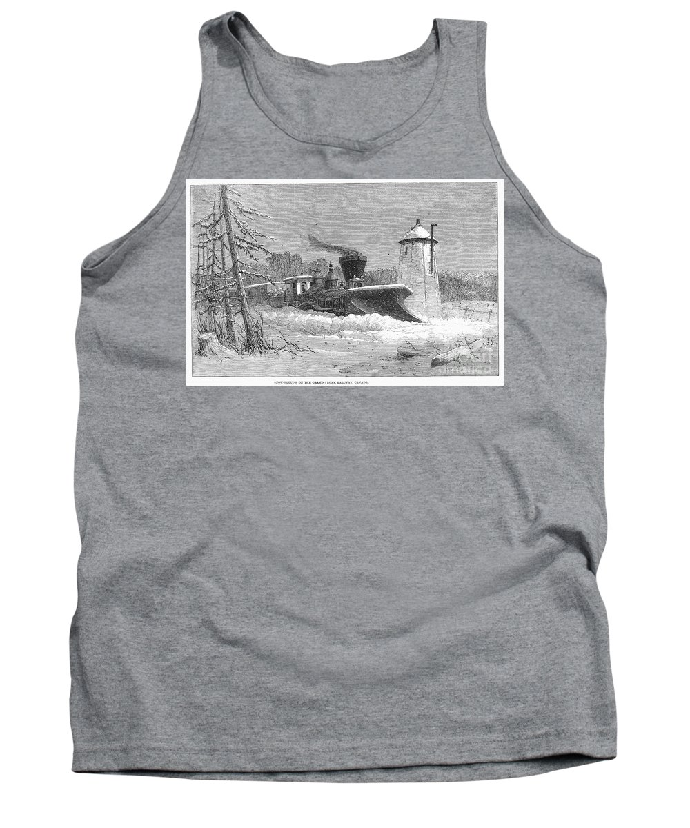 1862 Tank Top featuring the photograph Railway Snow Plough, 1862 by Granger