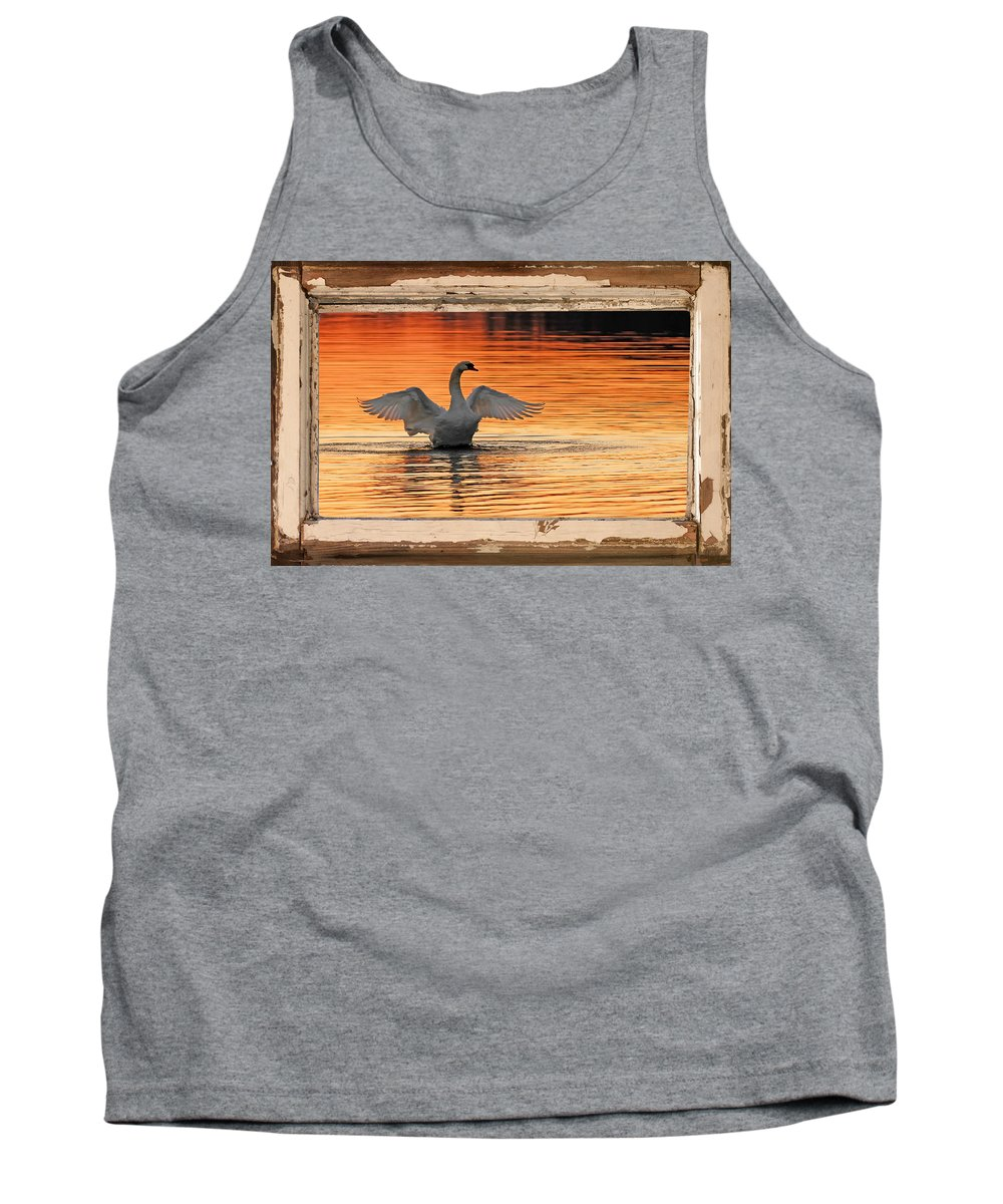 Swan At Red Dawn Tank Top featuring the photograph Red Dawn Swan Framed In Old Window Frame by Randall Branham