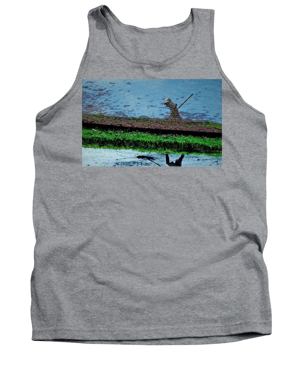 Asia Tank Top featuring the photograph Reflecting On Rice by Valerie Rosen