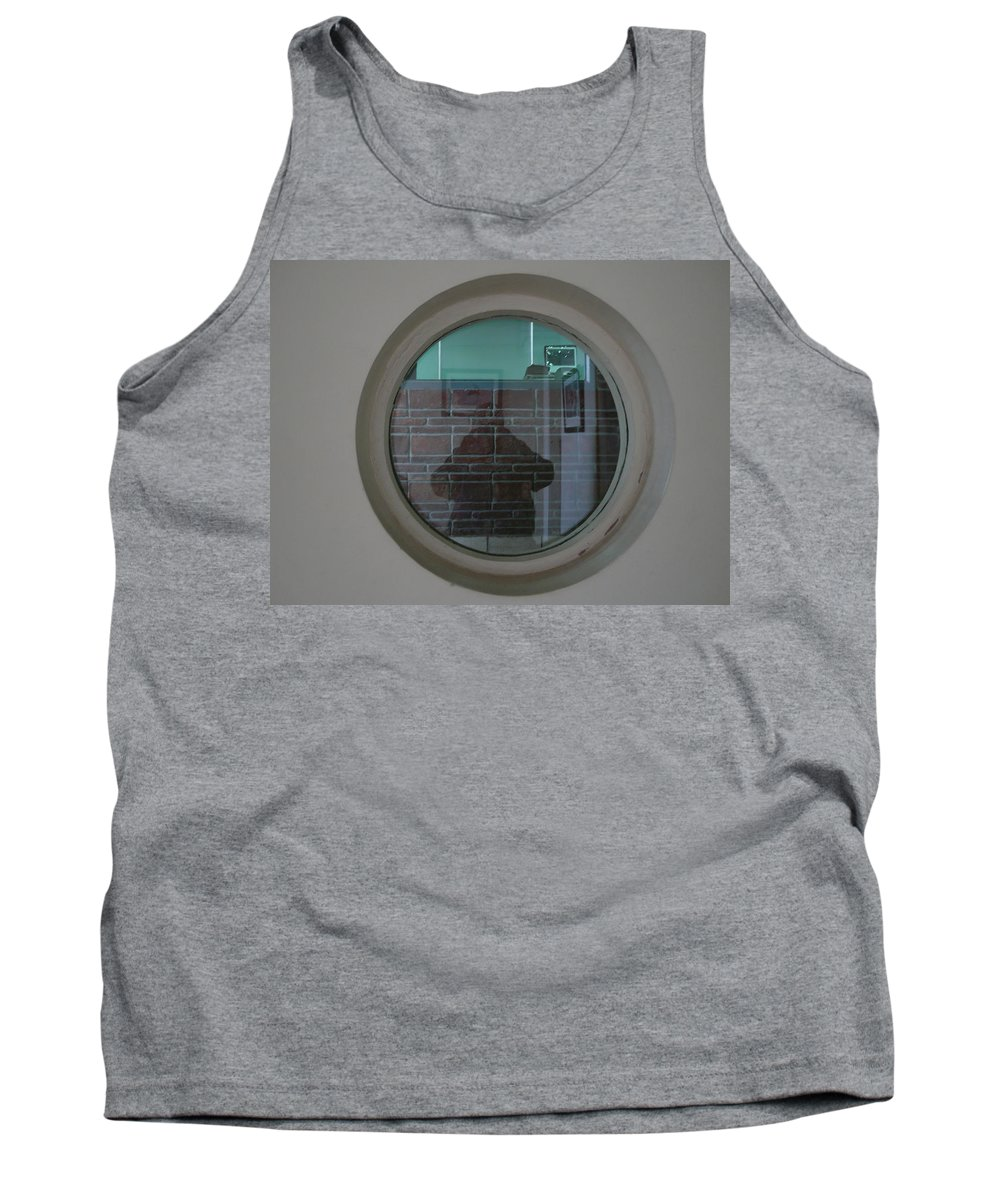 Portrait Tank Top featuring the photograph Self Portrait In A Circular Glass On The Wall by Ashish Agarwal