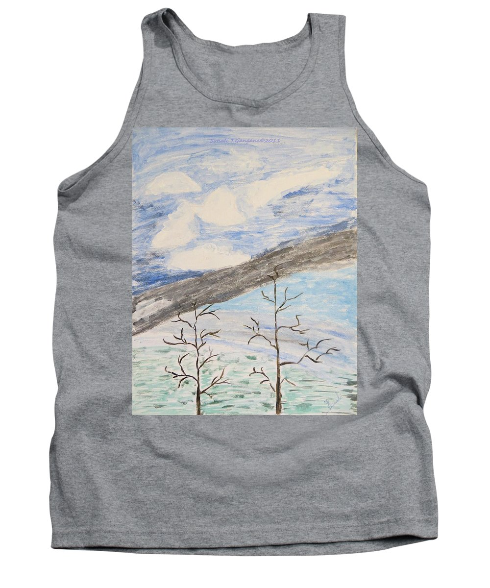 Shades Of Clouds In The Sky Tank Top featuring the painting Shades Of Nature by Sonali Gangane