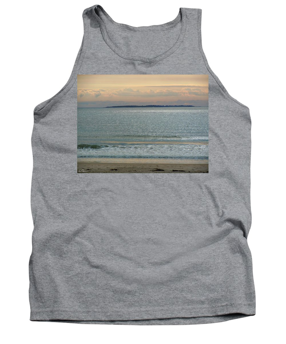 Beach Tank Top featuring the photograph Shimmering Sunlight Upon The Sea by Nancy Griswold