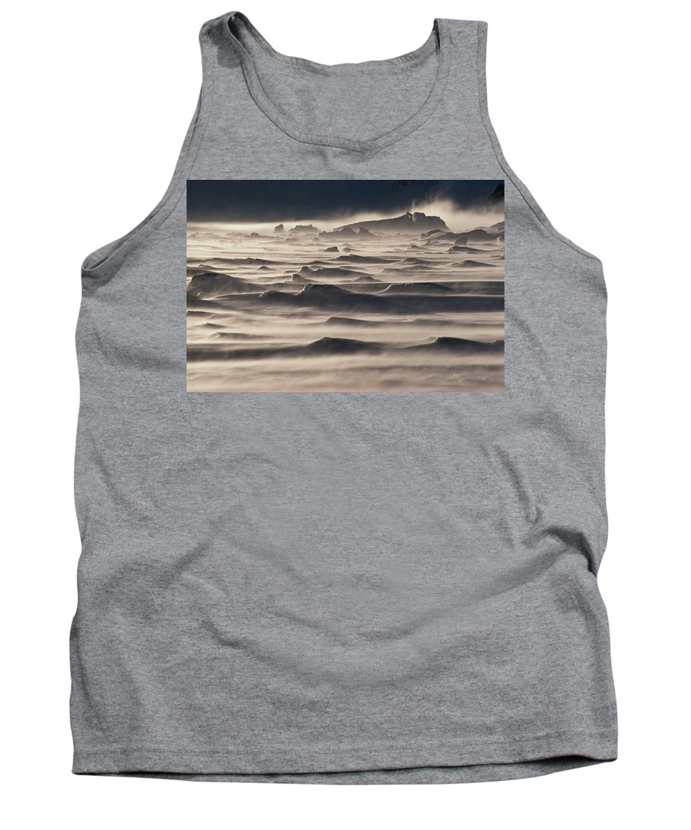 Landscape; Antarctic; Southern Ocean; South Polar Ocean; Frozen; Cold; Seascape; Storm; Weather; Nature; Wind; Windy; Extreme; Environmental; Harsh; Hostile; Rugged; Wilderness; Atmospheric; Scenic Tank Top featuring the photograph Snow Drift Over Winter Sea Ice by Antarctica