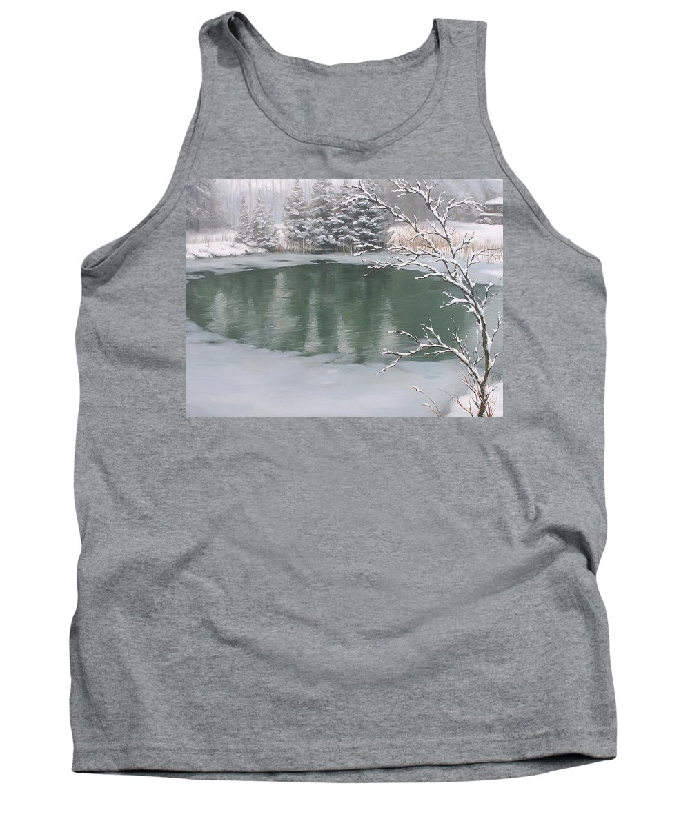 Landscape Tank Top featuring the painting Snowy Day by Olena Lopatina