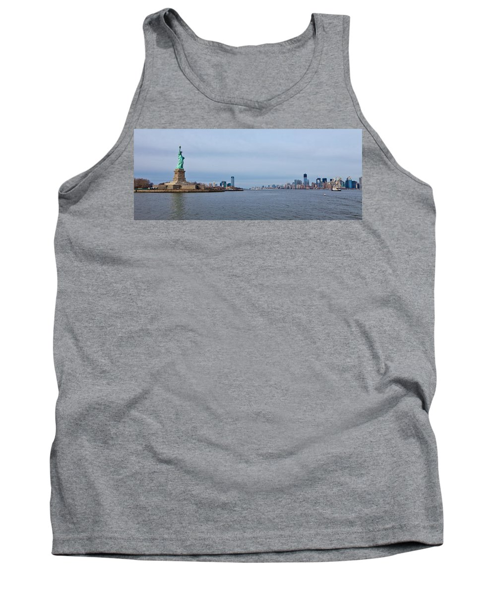 Landscape Tank Top featuring the photograph Staute Of Liberty And New York City by Jiayin Ma