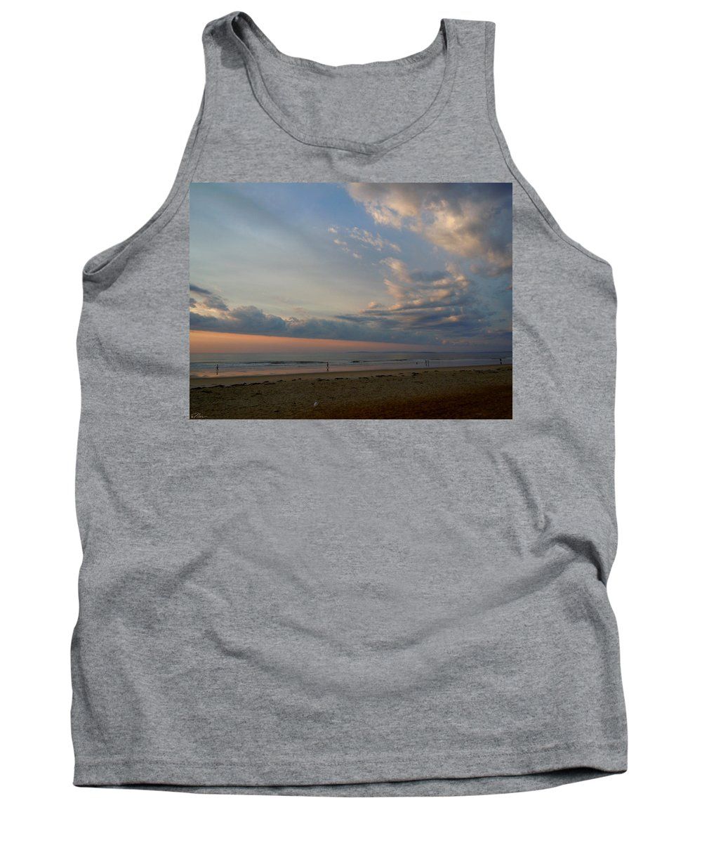 Beach Tank Top featuring the photograph Strolling At Sunrise On The Shore Of Maine by Nancy Griswold