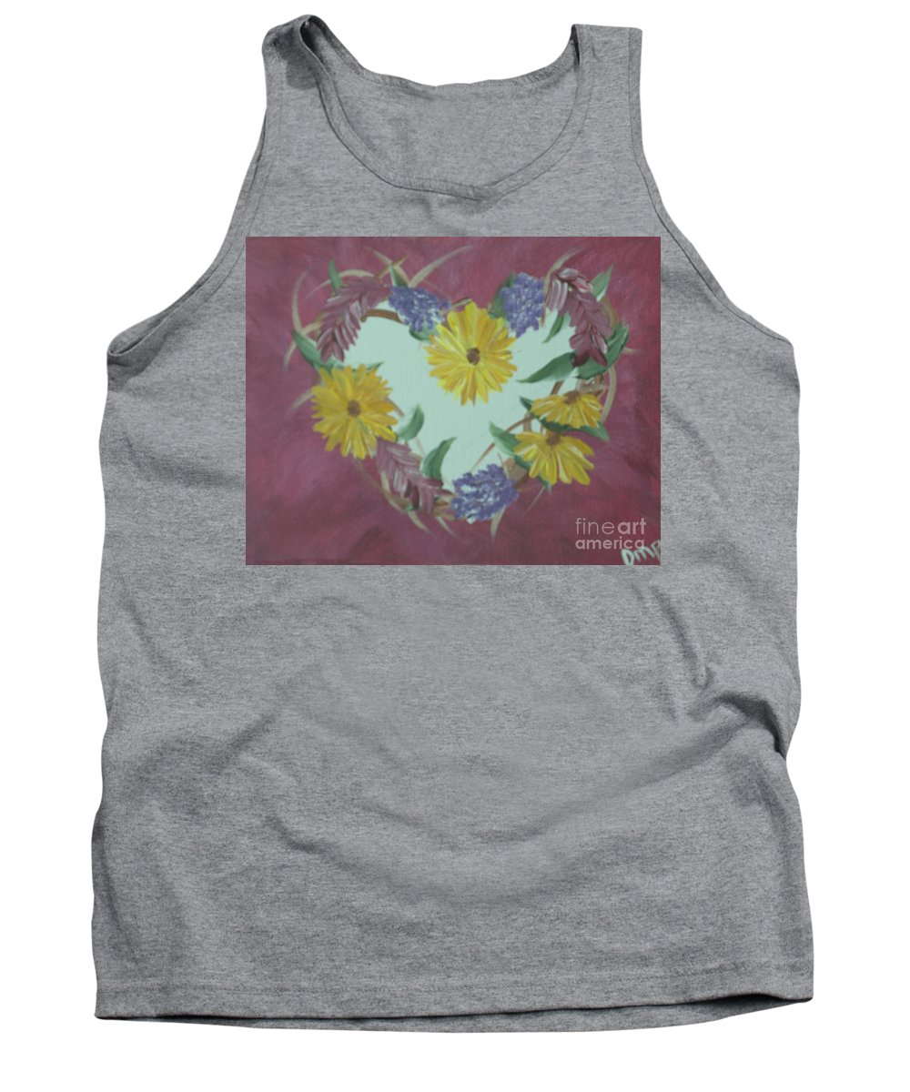 Acrylic Tank Top featuring the photograph Summer Heart Wreath by Donna Brown