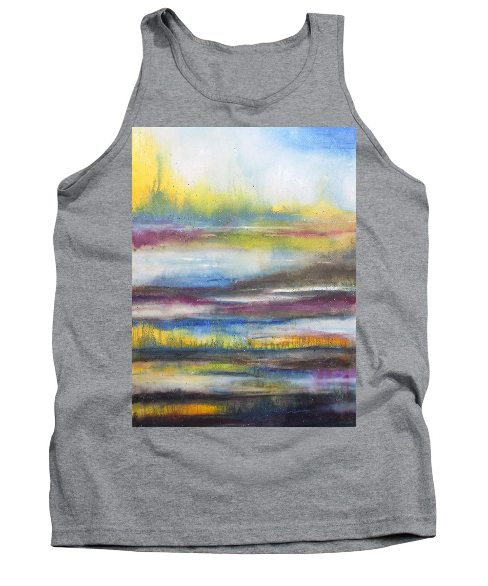 Landscape Tank Top featuring the painting Summer Marsh by Karen King