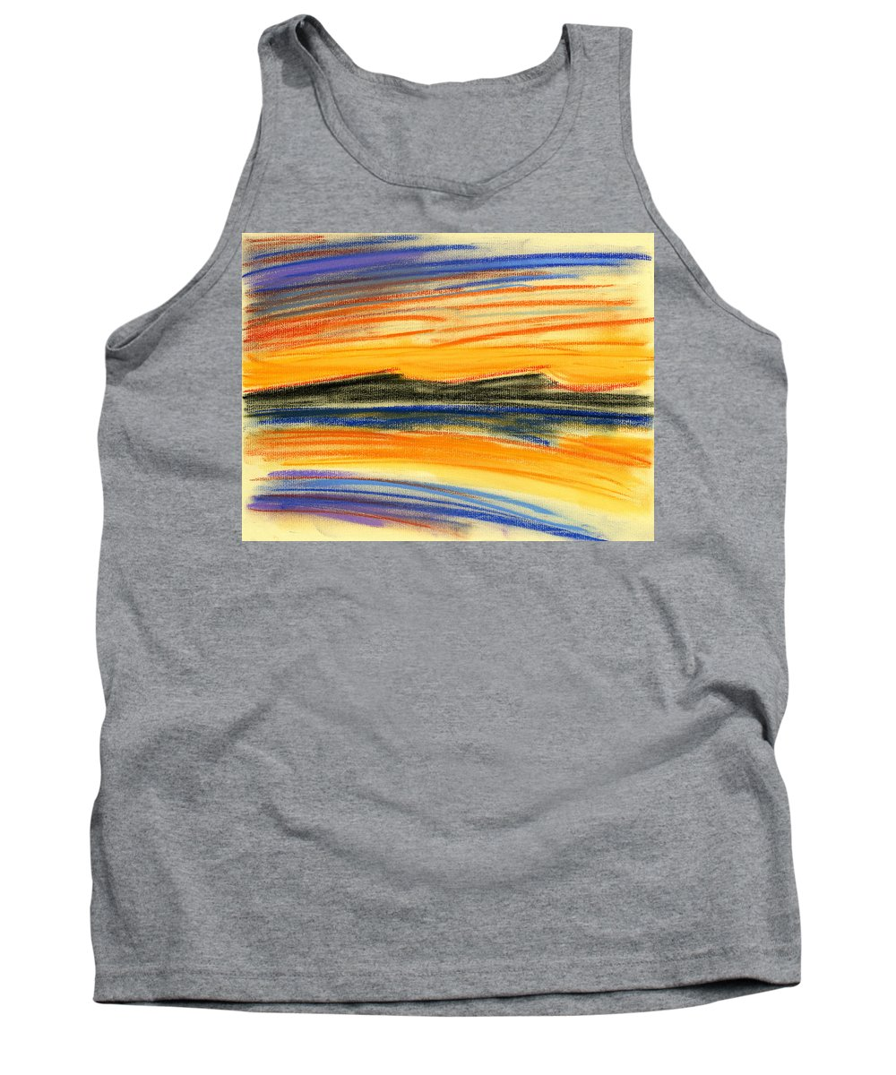 Sunset Tank Top featuring the painting Sunset On The Lake by Hakon Soreide