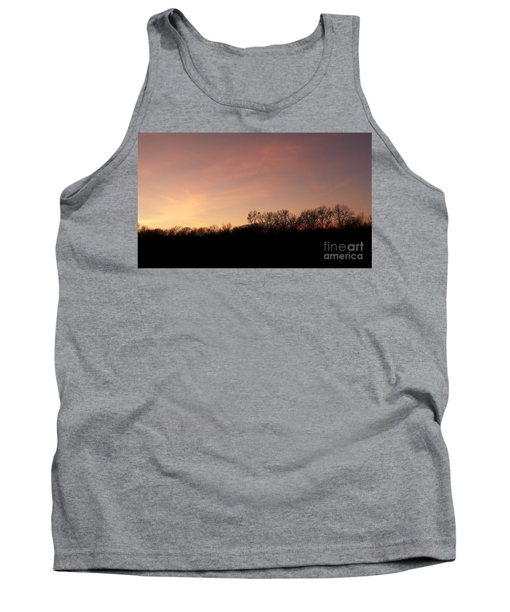 Prairie Sunset Tank Top featuring the photograph Sunset Over Trees by Art Whitton