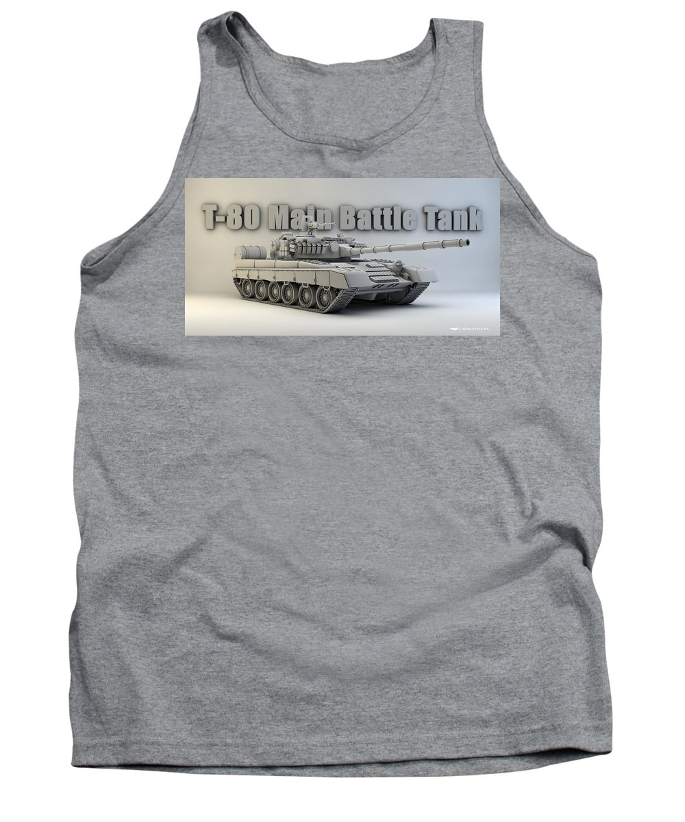 Military Tank Top featuring the digital art T-80 Main Battle Tank by Dale Jackson