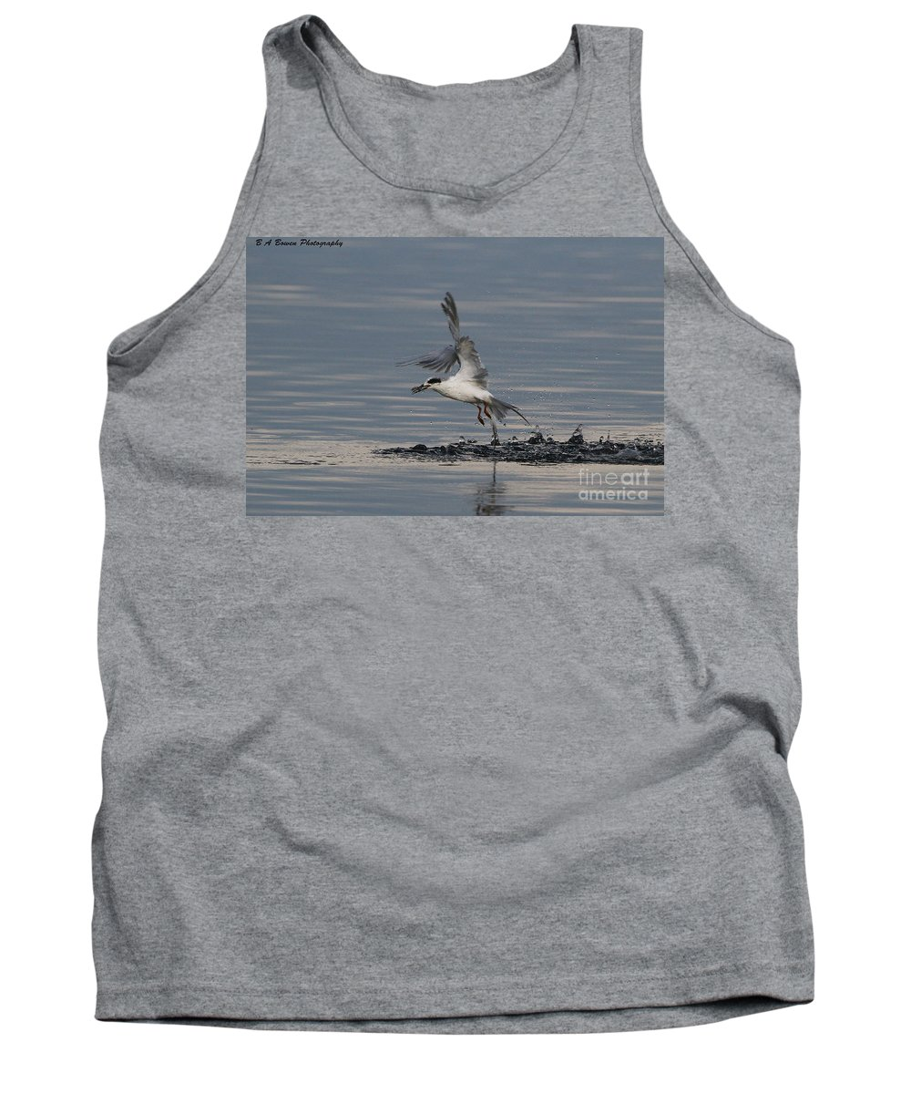 Forsters Tern Tank Top featuring the photograph Tern Emerging With Fish by Barbara Bowen
