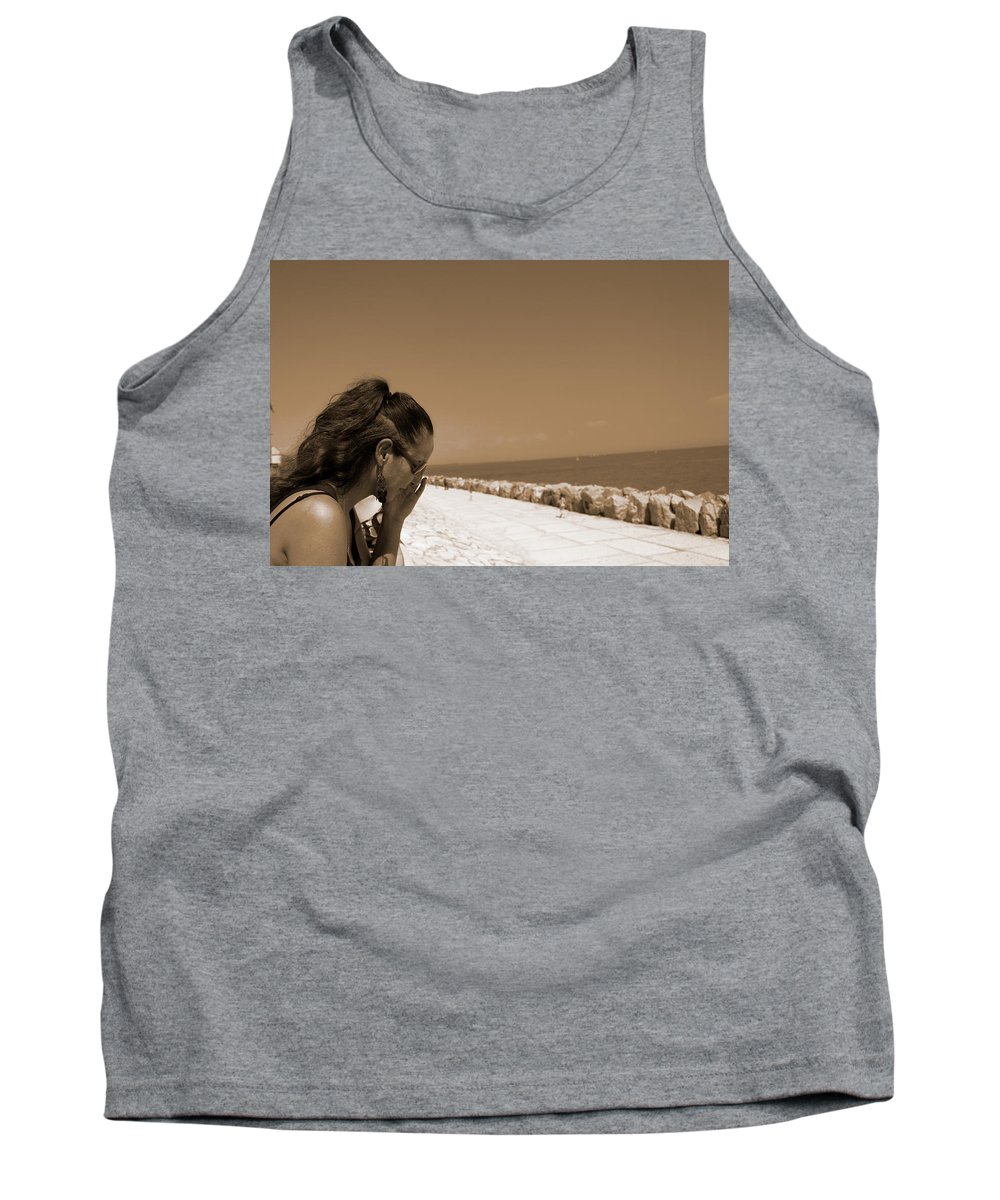 Sea Tank Top featuring the photograph The Lady And The Sea by Donato Iannuzzi