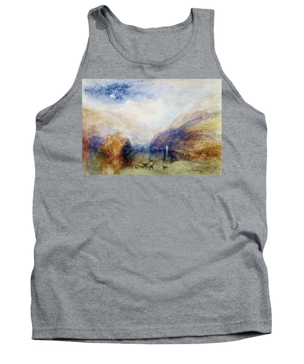 Alps; Alpine; Romantic; Near Schwyz; Mountainous; Castle; Swiss Landscape; Romanticist; Romanticism Tank Top featuring the painting The Lauerzersee With The Mythens by Joseph Mallord William Turner