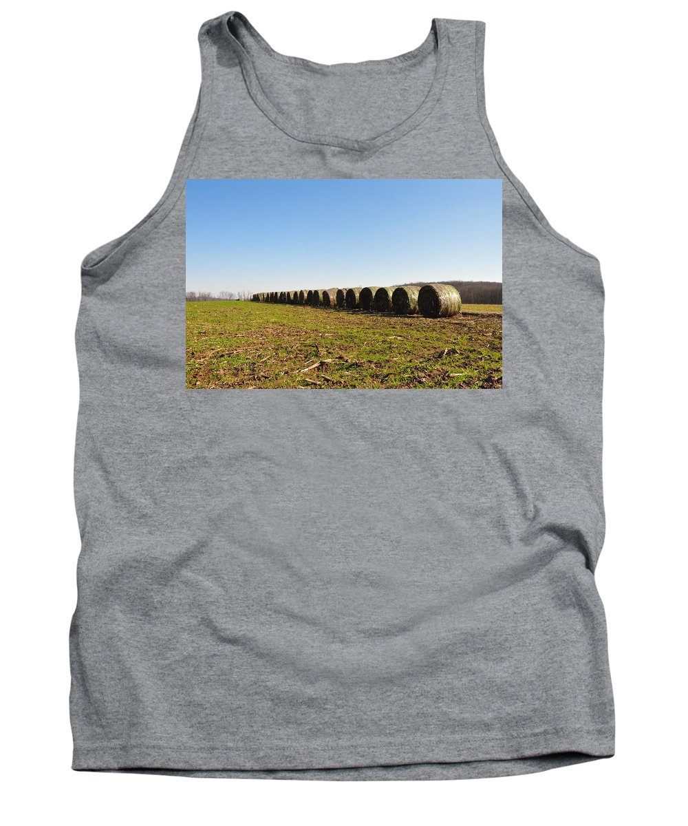 Hay Tank Top featuring the photograph The Line Up by Bill Cannon