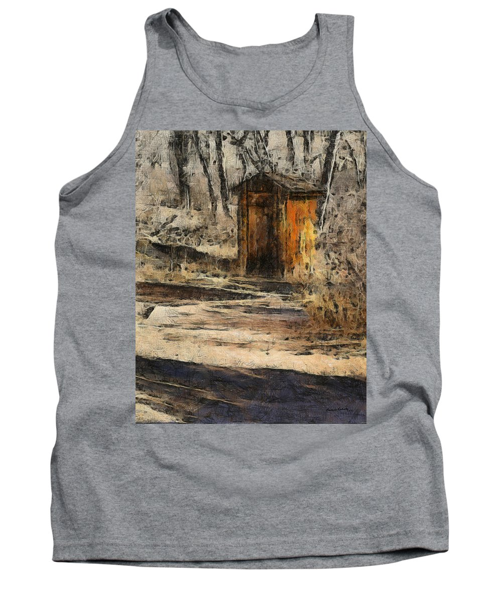 The Outhouse Tank Top featuring the digital art The Outhouse by Ernie Echols