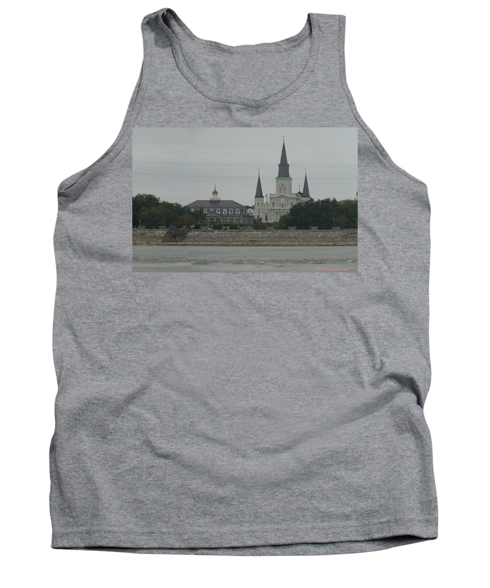Landscape Tank Top featuring the photograph The St.louis Cathedral From Acorss The River by Anthony Walker Sr