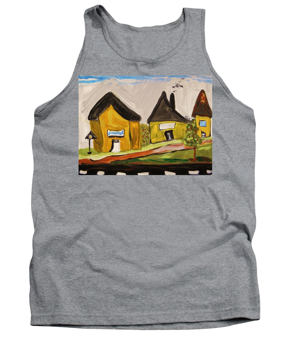 Yellow Houses Tank Top featuring the painting Three Yellow Houses With Picture Windows by Mary Carol Williams