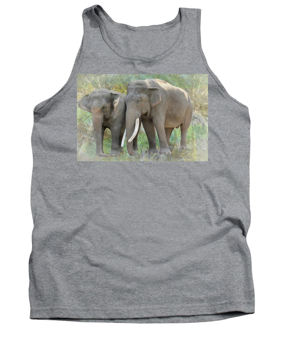 Trunk Tank Top featuring the photograph Twin Elephants by Rudy Umans