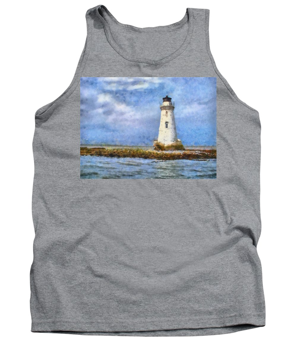 Lighthouse Tank Top featuring the painting Tybee Island Lighthouse by Lynne Jenkins