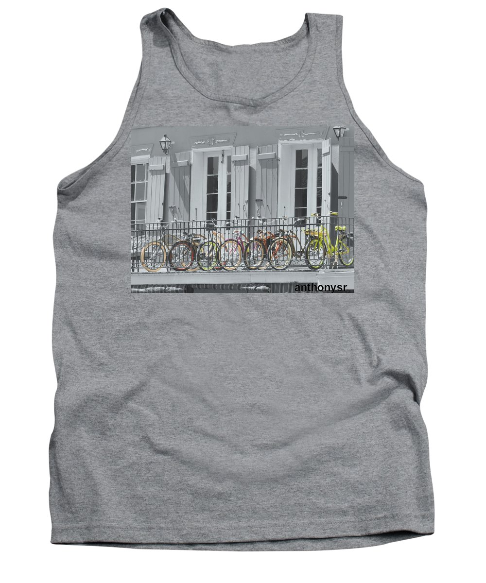 Bikes Tank Top featuring the photograph Upper Level Parking by Anthony Walker Sr