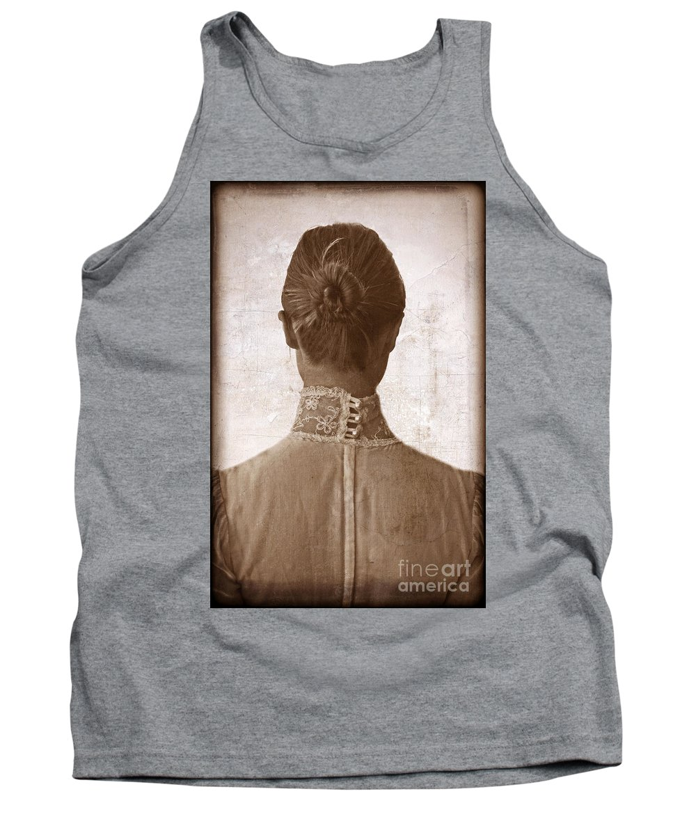 Woman Tank Top featuring the photograph Victorian Lady From Behind by Jill Battaglia