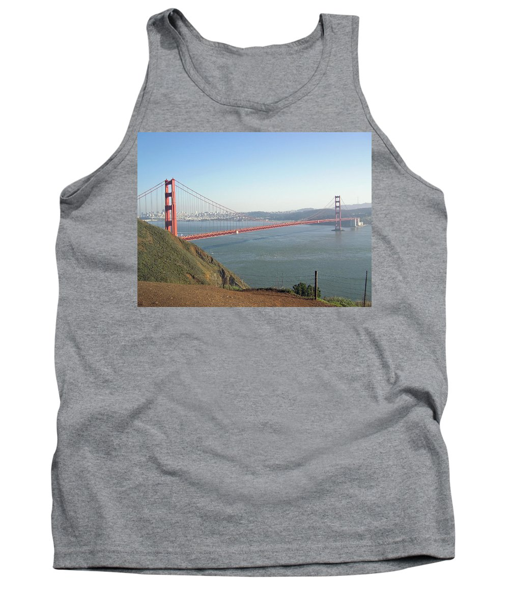 Golden Gate Tank Top featuring the photograph View Of The Golden Gate Bridge And San Francisco From A Distance by Ashish Agarwal
