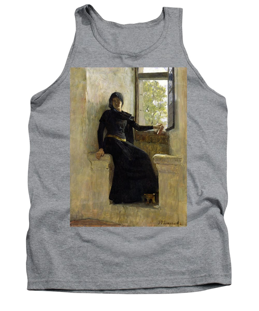 Female; Window; Seated; Black Dress; Medieval Costume; Portrait; Siege Tank Top featuring the painting Waiting by Jean Pierre Laurens