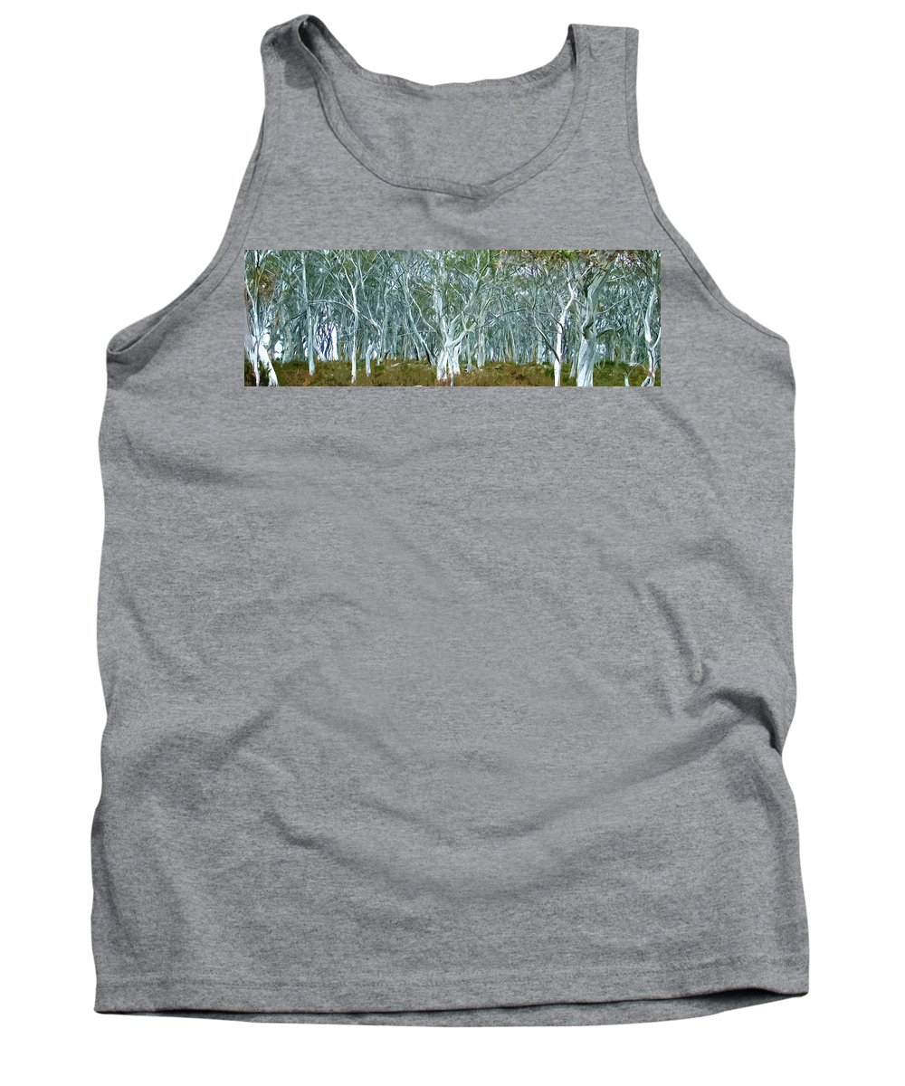 Landscape Tank Top featuring the digital art White Gum Forest by Phill Petrovic